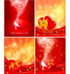 set of valentine day backgrounds vector image vector image
