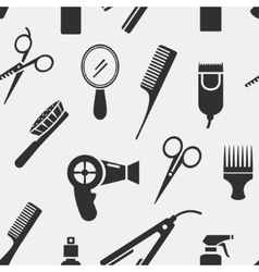 Silhouette Hairdressing Tools in Seamless Pattern vector image