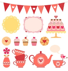 Valentine tea party vector