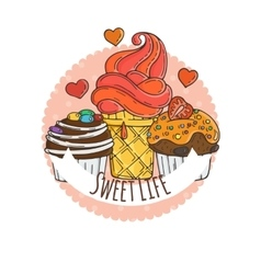 Colorful Muffins Background Cakes Sweets vector image vector image