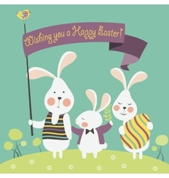 Easter bunnies and easter egg vector image vector image