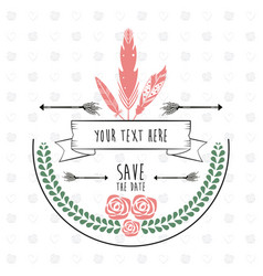 save the date rustic floral frame feather vector image
