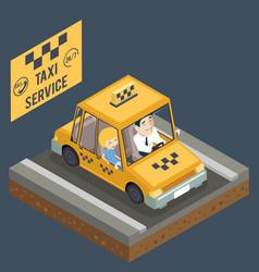 taxi car trip yellow cab transportation city urban vector image vector image