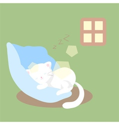 white cat sleeps or naps or rests vector image vector image