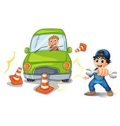 A car accident and a mechanic vector image