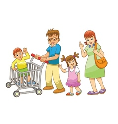 family shopping vector image