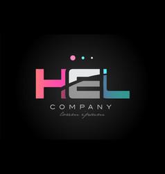 hel h e l three letter logo icon design vector image vector image