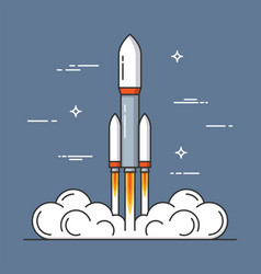 launch of a rocket project start up thin line vector image