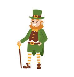 St patricks day leprechaun man character cartoon vector