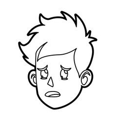 Character face head boy cry outline vector