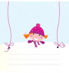 Christmas girl holding banner vector image vector image