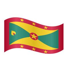 flag of grenada waving on white background vector image vector image