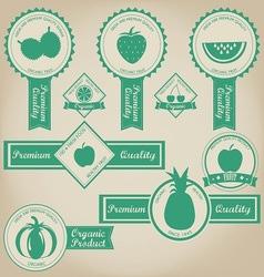 Fresh and organic fruit label design vector