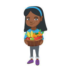 girl holding basket with fruit and vegetables vector image vector image