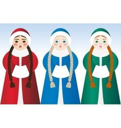 Girls in traditional dress vector image