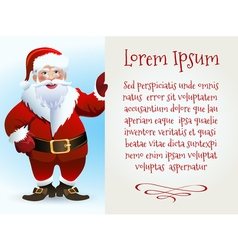 Santa Claus Cartoon Character with Text Sample on vector image vector image