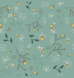 seamless pattern with floral design and beetle vector image