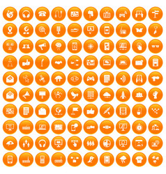 100 communication icons set orange vector
