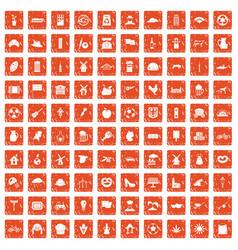 100 mill icons set grunge orange vector