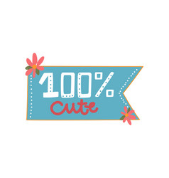100 percent cute design element can be used vector image