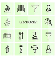 14 laboratory icons vector