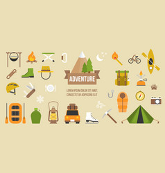 adventure pictogram of activities and equipments vector image