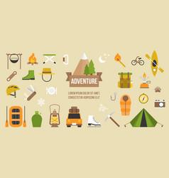 adventure pictogram of activities and equipments vector image