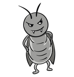 Angry gray cockroach color on white background vector