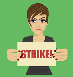 Angry young businesswoman holding strike banner vector