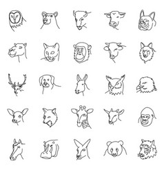animals set icon with outline style vector image