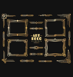 art deco elements gold wedding deco frame border vector image