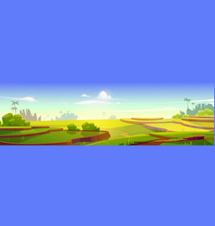 Asian rice field terraces in mountains landscape vector