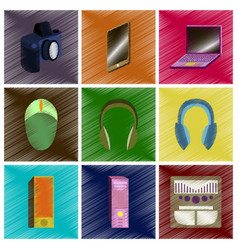 Assembly flat shading style icons gadgets vector