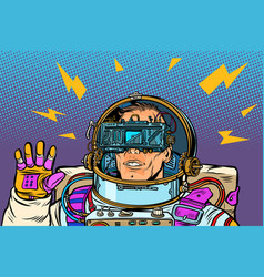 astronaut in virtual reality vr glasses vector image