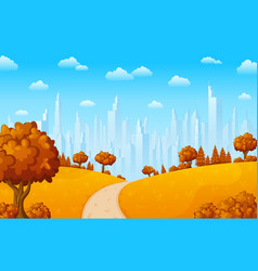 Autumn hillside landscape with city buildings vector