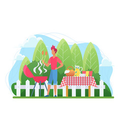 bbq in courtyard flat vector image