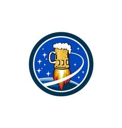 Beer Mug Rocket Ship Space Circle Retro vector
