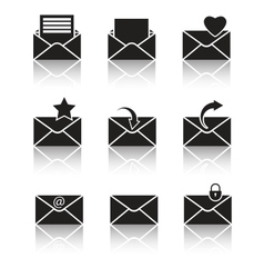 Black web icons set on gray vector