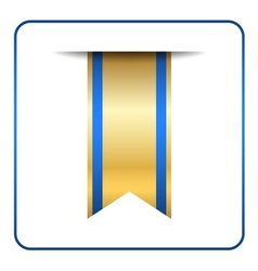 Blue bookmark banner gold tag vector