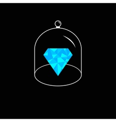 Blue polygonal diamond Glass bell cover cap Half vector