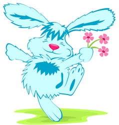 Blue rabbit with flowers vector image