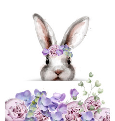 bunny rabbit with flowers watercolor cute vector image