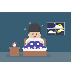 Businessman is wide awake in middle night vector