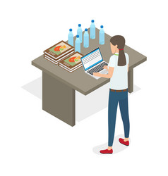 businesswoman standing and practicing on computer vector image