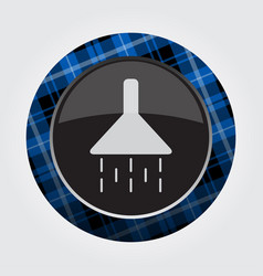 Button with blue black tartan - shower icon vector