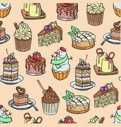 cakes and cupcakes piece cheesecake vector image