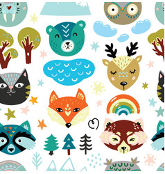cartoon animals heads and nature elements seamless vector image