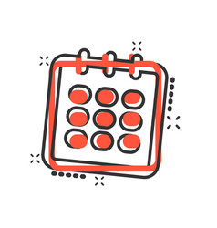 cartoon calendar agenda icon in comic style vector image