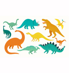 cartoon dinosaur set cute dinosaurs icon vector image