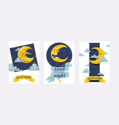 Cartoon moon moonlight star character in vector